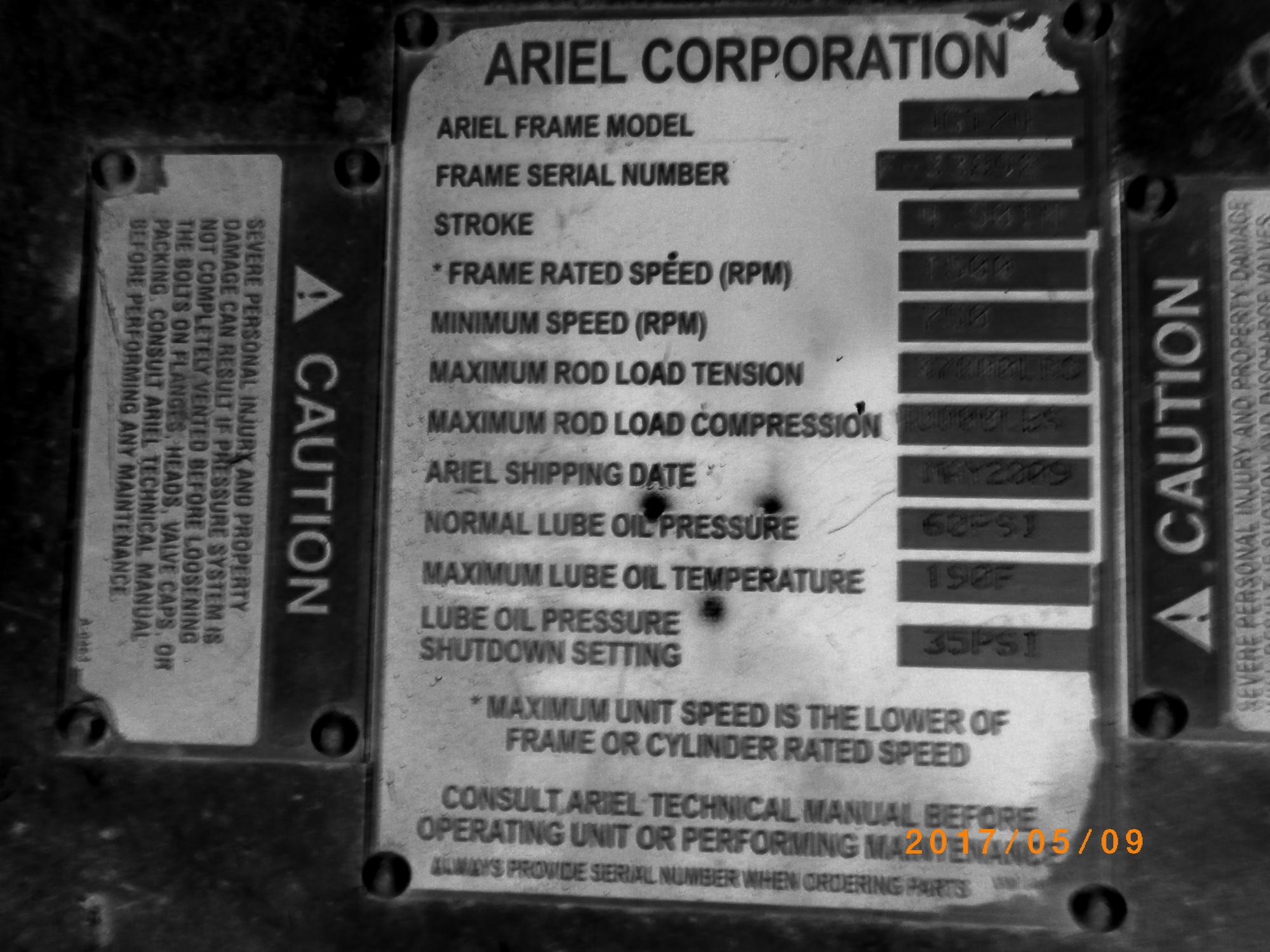ARMOUREE - 2009 COMPRESSOR UNIT 2700 Ariel JGT/4 Recip 0 PSI